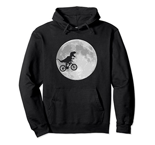 Unisex Dinosaur bike and moon pullover hoodies funny retro style XL Black