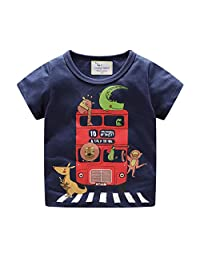 Lavany Baby Boys Shirts Cartoon Printed Short Sleeve Clothes Tee for Baby
