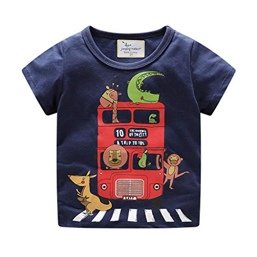 NUWFOR Children Kids Baby Girls Boys Cartoon Print T-Shirt Tee Tops Clothes (Navy,4-5 Years by NUWFOR
