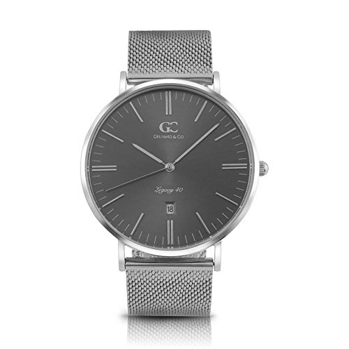 Gelfand & Co. Men's Minimalist Watch Silver Mesh Band Steinway 40mm Silver with Gray Metallic Dial