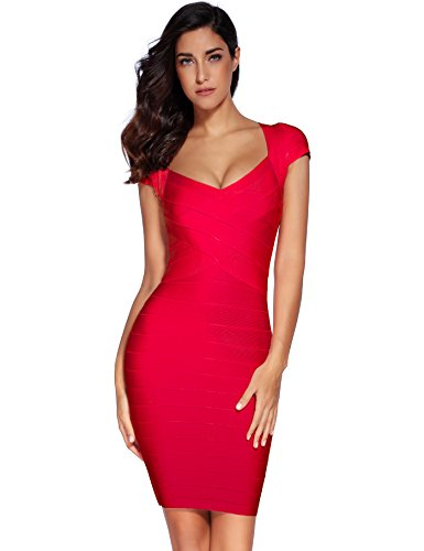 (Meilun Women's Rayon Sexy Short Sleeve Square Neck Bandage Dress (Large, Red))