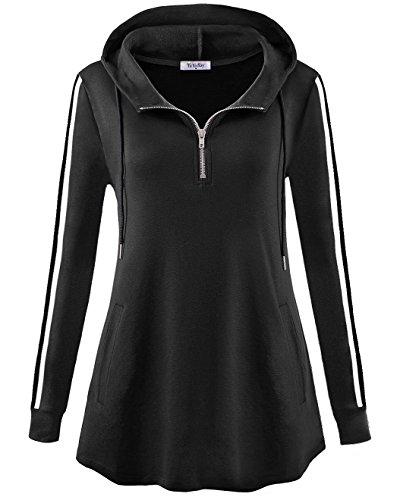 YaYa Bay Maternity Hoodie, Womens Zip up Front Fashion Hoodie Sweatshirts Vintage Striped Long Sleeve Sweater Hoodie XXL Black Kangaroo Pouch Pocket Jumper Hooded Pullover Tunic Tops