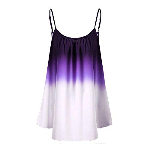 FarJing Hot Sale Women's Casual Gradient Sleeveveless Ombre Cami Top Trim Tank Top Blouse (2XL,Purple) - Liquid Jersey Dress