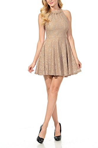 Brown Juniors Dress - Auliné Collection Womens Halter Sleeveless Floral Lace Skater Dress Mocha Large