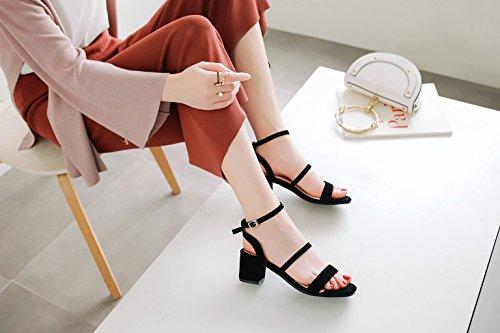 F Heel de y y Boda Slingback Hebilla Noche para Heel Chunky Mujer Zapatos de Peep Gamuza Sandalias Primavera Toe Verano wH11PI