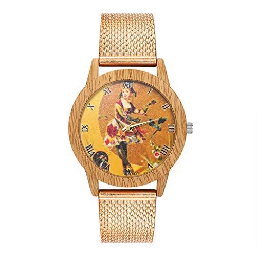 Clock Wood Striped (Women's Quartz Watch, Custom Personalized Bamboo Wood Girls Pattern Watches Silicone Strap Womens Quartz Watch)
