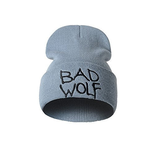 Fashion BAD WOLF Winter Hat with Letter Embroidery, Saingace Men Women Street Style Warm Knitted Teens Ski Caps Stretchy Earmuffs (Gray)