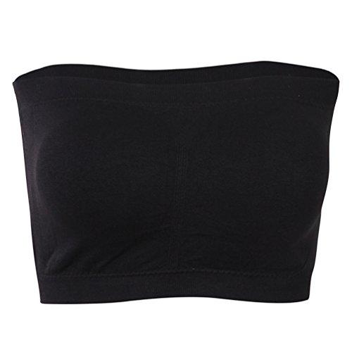 KELLY KLARK Comfortable Basic Seamless Bra, Womens Padded Strapless Bra Wireless Tube Top Bandeau Bra 1 Pack Black Large