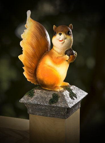 Whimsical Solar Fence Amp Deck Post Cap Buddy Mr Squirrel
