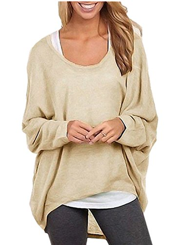 Menglihua Womens Outumn Casual Oversized Loose Baggy Pullover Tunic Shirt Top Blouse Beige 3XL