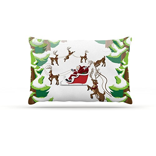 30 by 40\ Kess InHouse Original Forest Sleigh Scene  Holiday Illustration Fleece Dog Bed, 30 by 40