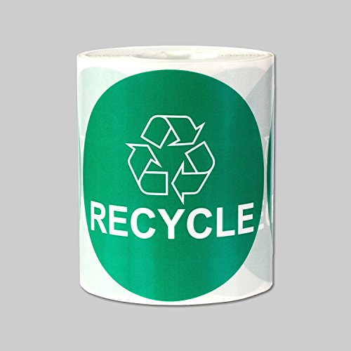 "Recycle Logo Recycling Circle Symbol Labels Round Self Adhesive Stickers (Green White / 3"") - 300 labels per package"