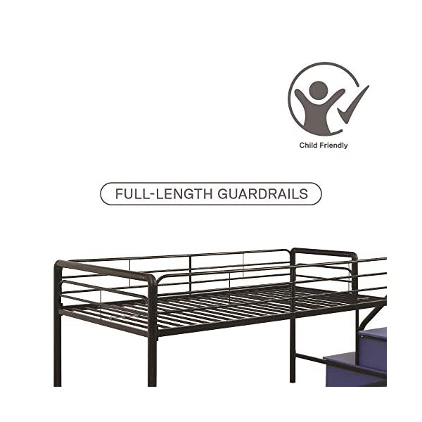 DHP Junior Twin Metal Loft Bed with Storage Steps, Space-Saving Solution, Multifunctional, Black with Blue Steps 4