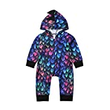 preetyyou Newborn Baby Dinosaur Costumes Infant Boy Girl Colorful Long Sleeve Hooded Jumpsuit Romper Outfits Clothes (Multicolor,6-12 Months)
