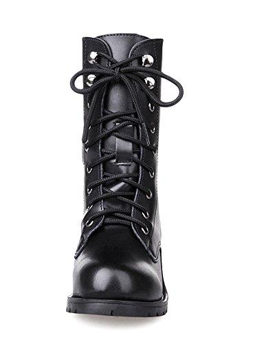 Stile Scarpe Cavaliere Piatte Autunno Inverno Moda Nero Lace Britannico Boots Donna Snow Boots Stivali Minetom Martin Up Sneaker qR07ctnw