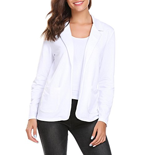 Thinice Womens Casual Long Sleeve Blazer Work Office Open Front Women Jackets Pure White ()