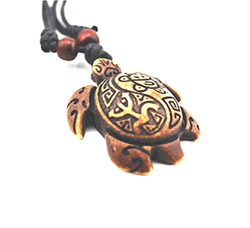 JEWSUN Brown Turtle Necklace -Yinyang Coqui Tribal Frog and Taino Sun Symbols
