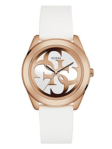 GUESS-Womens-Quartz-Stainless-Steel-and-Silicone-Casual-Watch-ColorWhite-Model-U0911L5