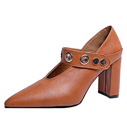 2019 New Vintage Womens Flats Pumps Ladies Pointed Faux Leather Thick Heel Single Shoes For Women Brown