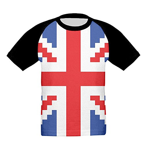NavyLife Child Pixel British Flag Baseball Raglan Short Sleeves T-Shirt Sports Crew Uniforms Slim - West Scuderia