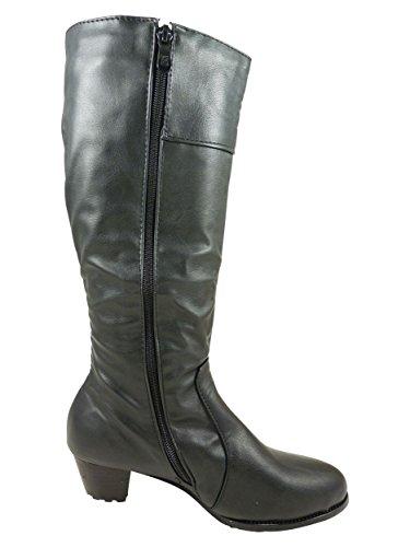 Botas para mujer, clásico, diseño con tacón de estable 4 cm Negro - negro