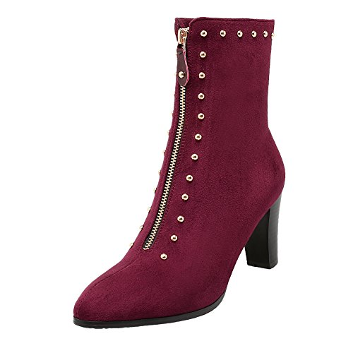 13f51945a7038 Latasa Women's Front Zipper Studded Pointed Toe High Heels Short ...