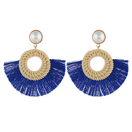 - FEDULK Rattan Tassel Earrings for Women Fringe Bohemian Statement Handmade Woven Drop Dangle Earrings(Blue)