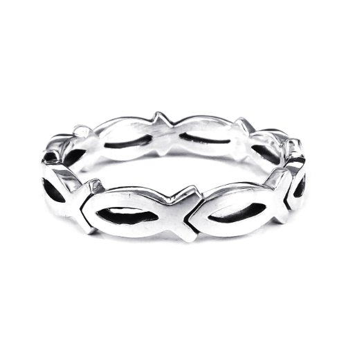 Christian Fish Eternity Link .925 Sterling Silver Ring (3 Link Ring)