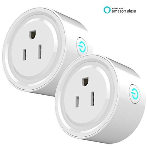 Smart Plug Mini Outlet, Works with Amazon Alexa Echo, No Hub Required, WiFi Wireless Energy Save, Remote Control Light Switch Socket, White Kuled (Smart plug 2pack)