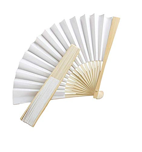 Fashioncraft,Wedding Party Bridal Shower Favors, White Paper Fans, Set of 20