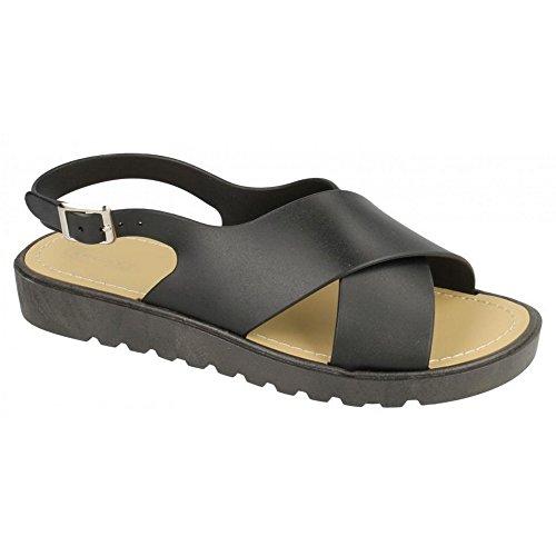 Spot On Womens/Ladies Low Slingback X Vamp Sandals Black etGwaxgNH