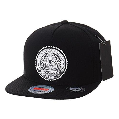(WITHMOONS Snapback Hat Illuminati Patch Hip Hop Baseball Cap AL2344 (Black) )
