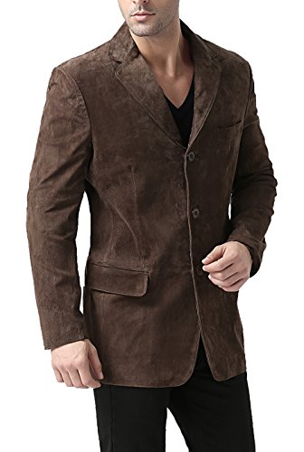 (BGSD Men's Robert 3-Button Suede Leather Blazer,Brown,Medium)