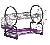 purple dish rack - 2 Tier Chrome Dish Drainer Sink Cutlery Rack Holder Plates Tray Rack Purple New by Professional