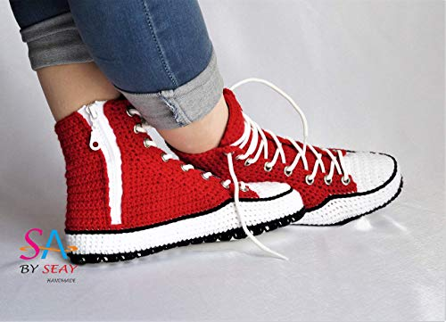 Crochet Style Women's And Men's Soft Fleece Winter Warm Indoor House Fashion Boots Slippers, Hi-Top Unisex Sneaker Knitting Comfy Warm booties -