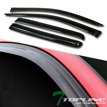 Topline Autopart Smoke Window Visors Deflector Vent Shade Guard 4 Pieces For 07-16 Jeep ()