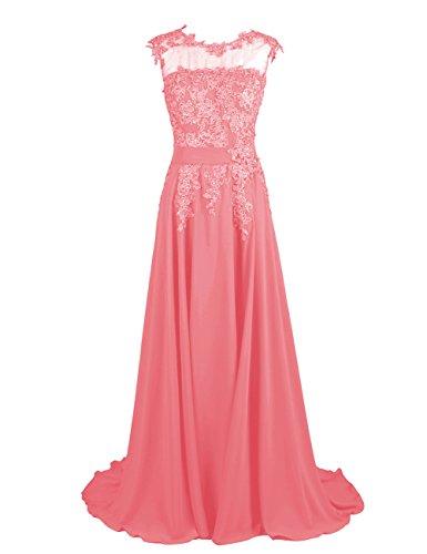 Dresstells-Long-Bridesmaid-Dress-Applique-Prom-Dress-Evening-Party-Gowns-Coral-Size-18W