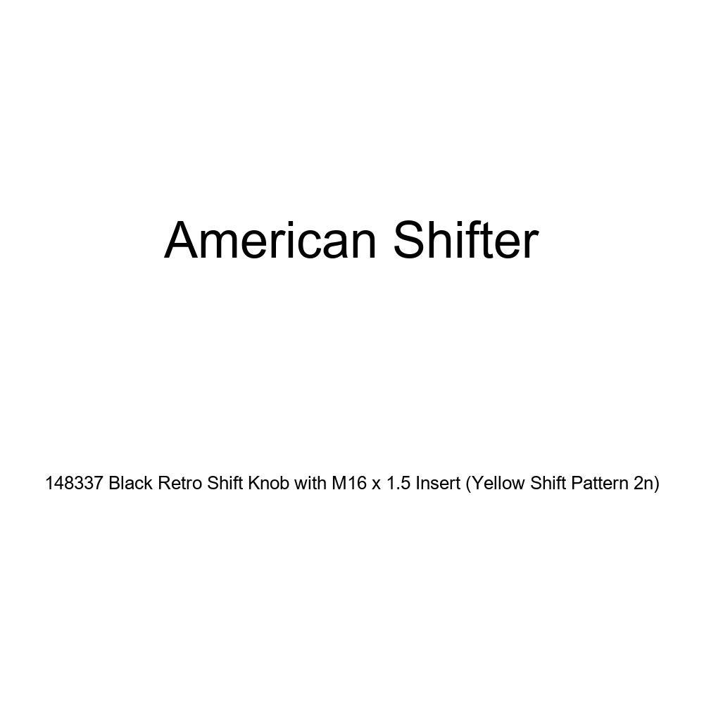 American Shifter 148337 Black Retro Shift Knob with M16 x 1.5 Insert Yellow Shift Pattern 2n