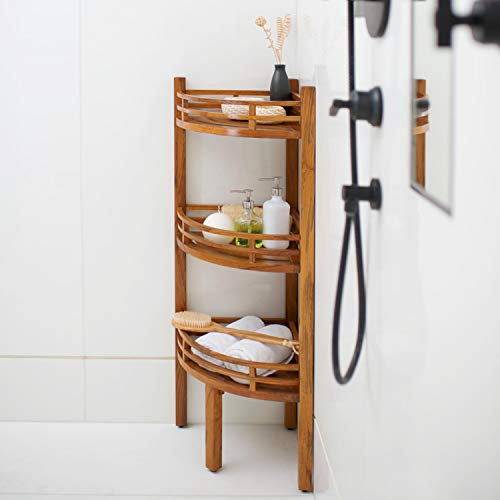 Cambridge-Casual AMZ-250376T Estate Teak Spa/Shower Corner Shelf (Teak Store Furniture)