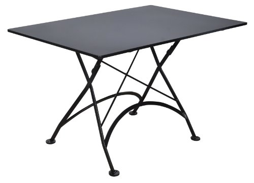 Cheap Mobel Designhaus French Café Bistro Folding Table, Jet Black Frame, 32″ x 48″ x 29″ Height, Rectangular Steel Metal Top