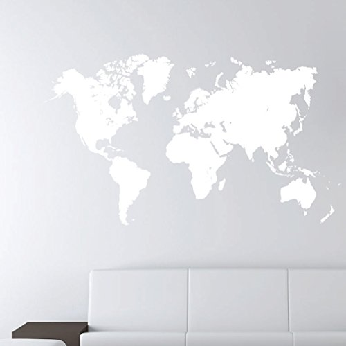 Globe sticker trainers4me world map earth wall decal sticker atlas globe art 1248 28 high x 49 wide matte white gumiabroncs Choice Image