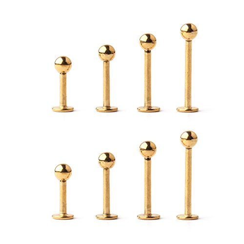 Ruifan 4prs(8pcs) 16G 316L Stainless Steel 3mm Ball Labret Monroe Lip Tragus Helix Earring Stud Barbell Ring Body Piercing Jewelry Kit Bar Length 6mm/8mm/10mm/12mm(Gold)
