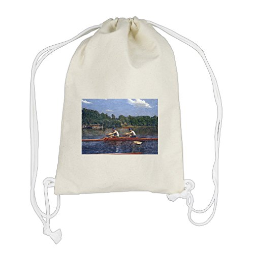 Biglin Brothers Racing (Thomas Eakins) Cotton Canvas Backpack Drawstring Bag