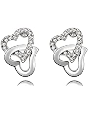 Wonvin Womens Crystal Double Heart Stud Earrings Soulmate 18K White Gold Color White