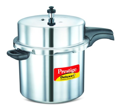 (Prestige PRDAPC12 Deluxe Plus 12-Liter New Flat Base Aluminum Pressure Cooker for Gas and Induction Stove, Medium, Silver)