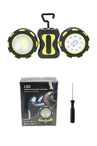 Portable LED Work Light, ACVCY Dual Head 500 Lumens COB Flashlight, Magnetic Base with Hanging Hook for Outdoor, Camping, Garage Car Repairing, Painters and Emergency AAA Batteries Operated