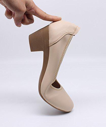 Sexy Professionnelles Beige Femme Escarpins Pumps Cuir Ubeauty Hauts Talon 40mm Chaussures Confortable À Bloc 8fxFqn