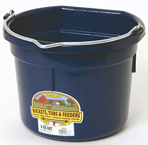 - LITTLE GIANT Flat-Back Dura-Flex Plastic Bucket, 8-Quart, Navy Blue