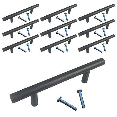 (10 Pack, L: 4 Inches CC: 2 Inches) Swiss Kelly Oil Rubbed Bronze Kitchen Cabinet Pull Drawer Handle - Drawer 2 Inch