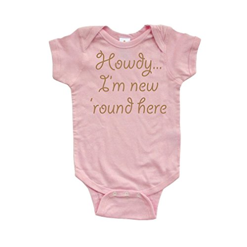 Apericots Howdy I'm New Round Here Funny Short Sleeve Infant Bodysuit Light Pink -